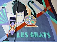 """BOB MACKIE Silk Scarf LES CHATS Wearable Art Cats Large Square 40"""" NWOT"""