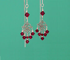 *CKstella*  Heart Chandelier Red Crystal Sterling Silver Thread Threader UPick