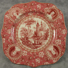 RED & CREAM TRANSFERWARE VICTORIAN COUNTRY TOILE PLATE ~Portrait & Rose Border~