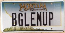 Montana vanity BUGLE 'EM UP License Plate Outfitter Moose Elk Hunt Beagle Dog