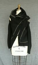 Vintage Comme des Garcons Deconstructed Cut Out Wool Zip Vest Funnel Collar