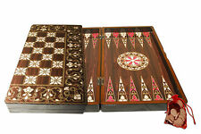 Yenigun Turkish Backgammon SeaShell Design Game Case, Wooden Board 15""