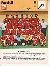 FOOTBALL carte  fiche photo  équipe FC COLOGNE 1977-1978