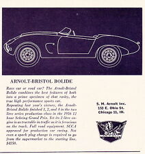 1956 ARNOLT-BRISTOL BOLIDE  ~  NICE ORIGINAL S.H. ARNOLT SMALLER PRINT AD