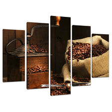 Five Canvas Pictures Kitchen Dining Room Brown Wall Art Prints 5062