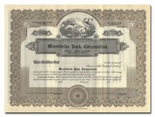 Montebello Park Corporation Stock Certificate (California)