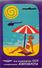 AEROFLOT Airline ~RUSSIA~ Vibrant ART DECO Luggage Label, c. 1960