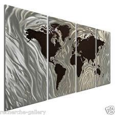 Metal Wall Sculpture Art by Ash Carl Modern Decor World Map