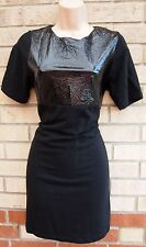 TOPSHOP BLACK WET LOOK FAUX LEATHER DETAIL BODYCON PENCIL MINI PARTY DRESS 10 S