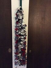 Ladies Scarf, multi-colored, red, grey, white, black, approximately 68 inches