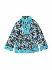 Girl Tory Burch Blue Geometric Rabbits Spring Fall Tunic Top Size Small (4/6)