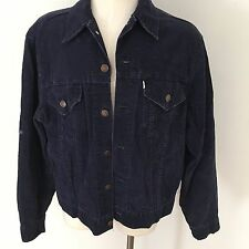 Vtg Levi's Dark Blue Corduroy Jacket Size 44 White Tab 70s 80s Trucker Coat USA