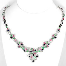 19 CTS GEM WEIGHT! NATURAL MULTI-COLOR EMERALD, RUBY & SAPPHIRE SILVER NECKLACE