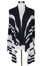 LANE BRYANT NAVY BLUE WHITE STRIPED LONG SLEEVE OPEN FRONT CARDIGAN Sz 18/20