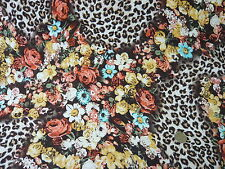 "10mts REALLY TOP QUALITY LEOPARD FLORAL PRINT STRETCH JERSEY FABRIC 58""wide"