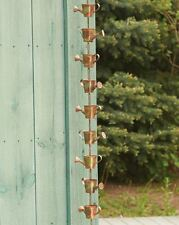 Watering Can Rain Chain Flamed Copper Finish Metal Garden Art Decor 96""