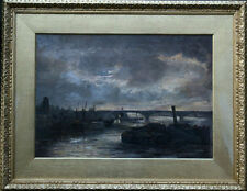 PHILIP F WALKER x1883-1914 BRITISH ART LONDON THAMES BATTERSEA 1887 WHISTLER OIL