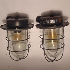 Factory Industrial Bunker Caged Light Clear Glass Dome Lamp