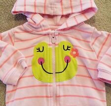SWEET CARTER'S NEWBORN PINK STRIPED FROG HOODED JACKET REBORN