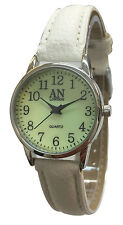 AN Mab London Big Numbers Dial Genuine Leather Strap Ladies Wrist Watches-AN8731