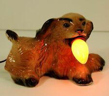 VINTAGE MID CENTURY CERAMIC TV TELEVISION LAMP, LIGHT DOG WITH BULB IN ITS MOUTH