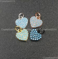 Natural Turquoise Pave Heart Bracelet Connector Charm Pendant Beads Silver Gold