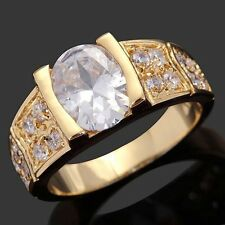 Rare 5.0CT Size 8 Luxury White Topaz 18K Gold Filled Nobby Men Engagement Rings