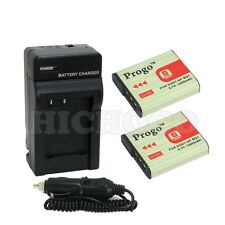2 Battery+Charger with Car Adapter kit For Sony CyberShot NP-BG1 DSC HX9V