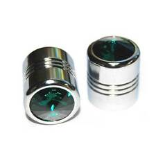 2 Chrome Billet & Green Bling Crystal Gem Valve Caps - Motorcycle, Car Rims