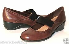 NATURALIZER Ande Dark Brown Leather Wedge Heel Shoe Sz 8 Retails $79  NEW