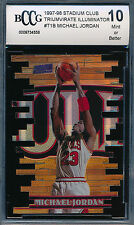 MICHAEL JORDAN 1997-98 STADIUM CLUB TRIUMVIRATE LUMINESCENT REFRACTOR BCCG 10!