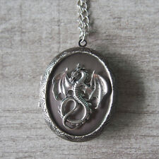 Gothic Flying Dragon Big Oval Silver Picture Locket Pendant Statement Necklace