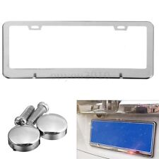 Stainless Steel Chrome License Plate Frame Metal Tag Cover Screw Caps New