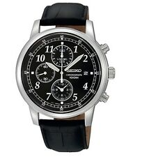 New Seiko Mens Chronograph Leather Box and Instructions SNDC33