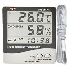 100% ORIGINAL HTC 288-ATH DIGITAL INDOOR OUTDOOR HYGRO - THERMOMETER WITH CLOCK