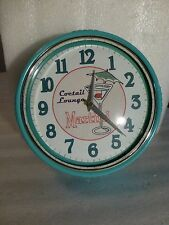 RETRO 50's COCKTAIL LOUNGE MARTINI WALL CLOCK - TROPICAL TURQUOISE BLUE RIM