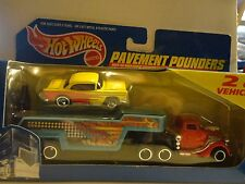 Hot Wheels Pavement Pounders Set w/Exclusive Yellow '55 Chevy Bel Air