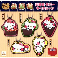 Capsule Hello Kitty Sushi Love Rubber Key Chain 5 Pics Set From Japan