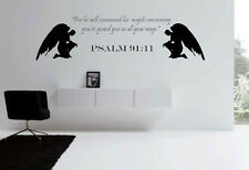 Psalms 91:11 Large  Bible quote  wall vinyl decal