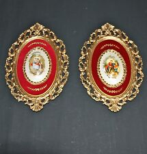VINTAGE CAMEO REGENCY WALL HANGINGS COURTING COUPLES IN GOLD TONE METAL FRAMES