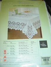 NW Vinyl Tablecloth 60 x 104 Oblong VICTORIA WHITE Easy CARE Lace Design Holiday