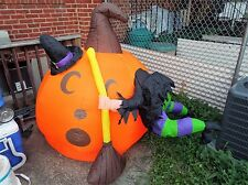 GEMMY AIRBLOWN INFLATABLE 6 FEET FT CRASHED WITCH PUMPKIN W/ LIGHTS YARD DECOR