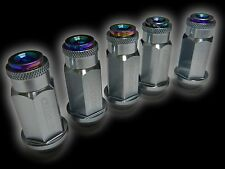 20PC 12X1.25MM 50MM EXTENDED ALUMINUM RACING CAPPED LUG NUTS GUNMETAL/NEO