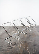 Mid Century Modern Chrome Chair Set 4 Cidue Italian Chair Wire Spoke Baughman VG