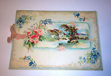 """Victorian Teacher/Student Holiday Card """"With Best Wishes"""" House on River Scene"""