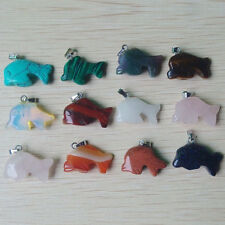 Wholesale 12Pcs/lot Carved assorted natural Stone Dolphin Pendants charms Beads