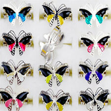 Wholesale 10pcs Jewellery lots Change Color Butterfly Silver Plated Mood Rings