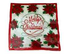 Christmas Paper Napkins- Lunch Dinner, Merry Christmas, Poinsettias, 20 Count