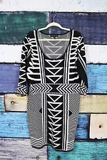 Derek Heart Black White Tribal Print Bodycon Stretch Knit Sweater Dress Plus 3X