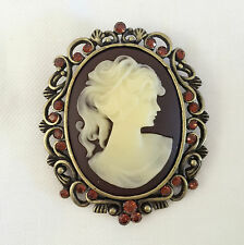 New Victoria Concept Vintage Style Cameo Brown Floral Crystals Brooch Pin BR1010